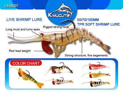 New arriving colors 70 TPR live shrimp lure CHS007 Image