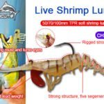 New arriving colors 50/70/100mm TPR live shrimp lure CHS007
