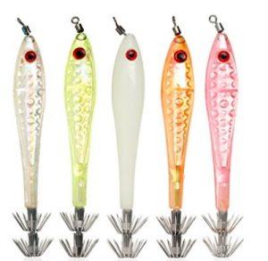 Luminous Squid Jigs Light umbrella Stainless Steel hook hard fishing lures 1.5 Squid Octopus Bait Lure jigging pack of 5